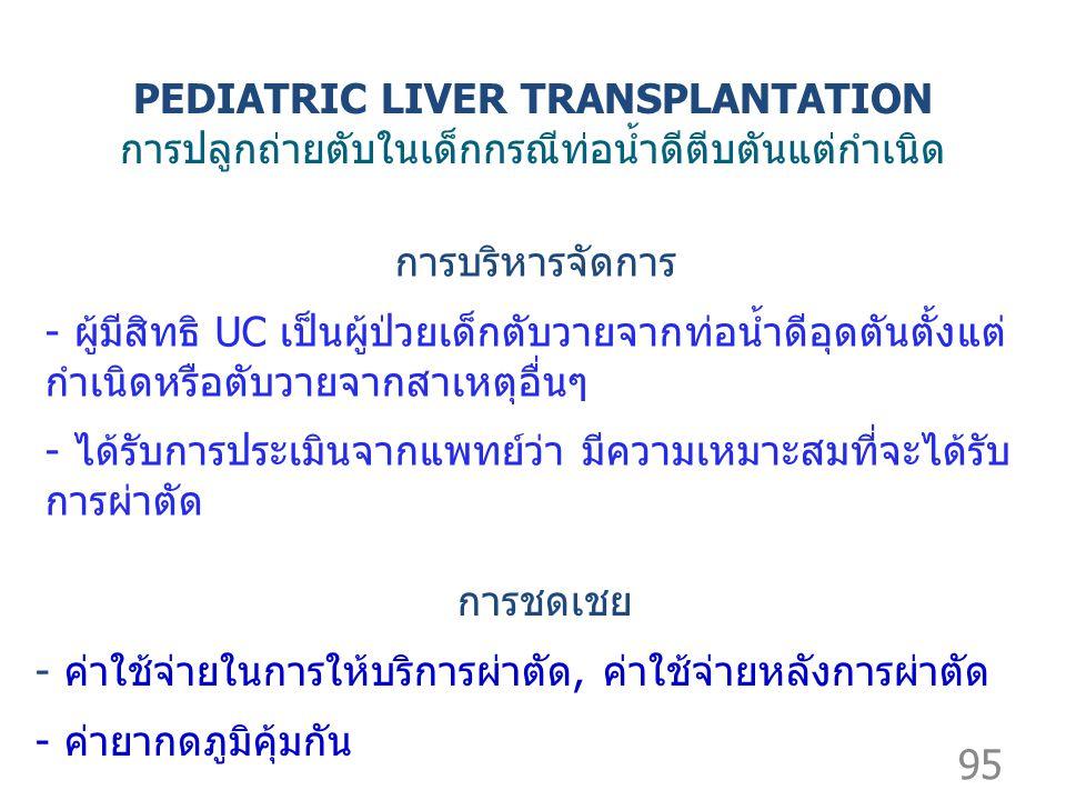 95 การบริหารจัดการ - ผู้มีสิทธิ UC เป็นผู้ป่วยเด็กตับวายจากท่อน้ำดีอุดตันตั้งแต่ กำเนิดหรือตับวายจากสาเหตุอื่นๆ - ได้รับการประเมินจากแพทย์ว่า มีความเหมาะสมที่จะได้รับ การผ่าตัด การชดเชย - ค่าใช้จ่ายในการให้บริการผ่าตัด, ค่าใช้จ่ายหลังการผ่าตัด - ค่ายากดภูมิคุ้มกัน PEDIATRIC LIVER TRANSPLANTATION การปลูกถ่ายตับในเด็กกรณีท่อน้ำดีตีบตันแต่กำเนิด