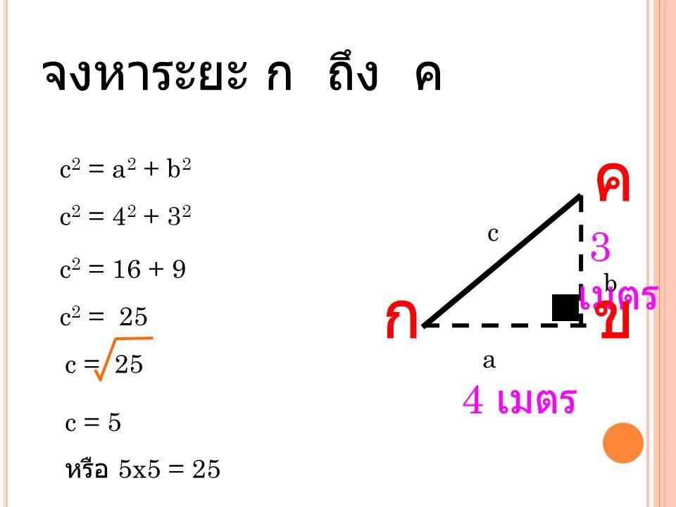 จงหาระยะ ก ถึง ค 4 เมตร 3 เมตร กข ค c 2 = a 2 + b 2 c 2 = 4 2 + 3 2 c 2 = 16 + 9 c 2 = 25 c = 25 c = 5 c a b หรือ 5x5 = 25