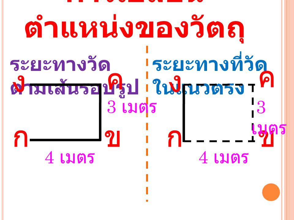 การเปลี่ยน ตำแหน่งของวัตถุ ระยะทางวัด ตามเส้นรอบรูป ระยะทางที่วัด ในแนวตรง กข 4 เมตร กข ค ค 3 เมตร งง