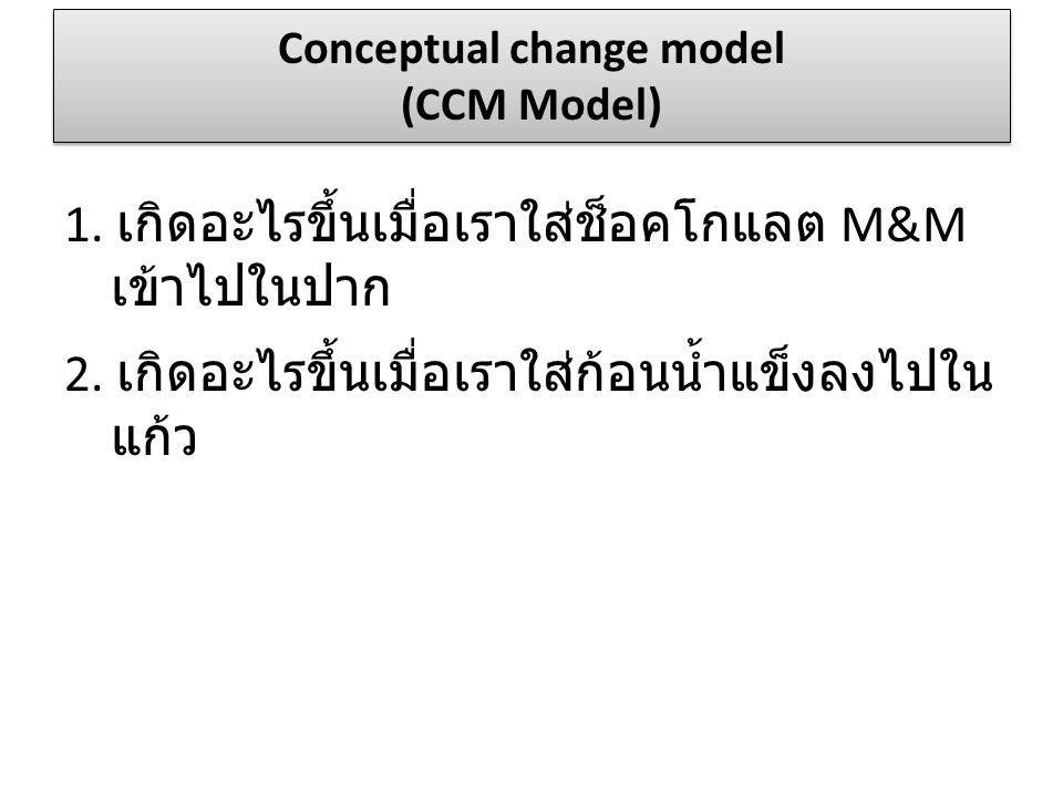 1. เกิดอะไรขึ้นเมื่อเราใส่ช็อคโกแลต M&M เข้าไปในปาก 2. เกิดอะไรขึ้นเมื่อเราใส่ก้อนน้ำแข็งลงไปใน แก้ว Conceptual change model (CCM Model)