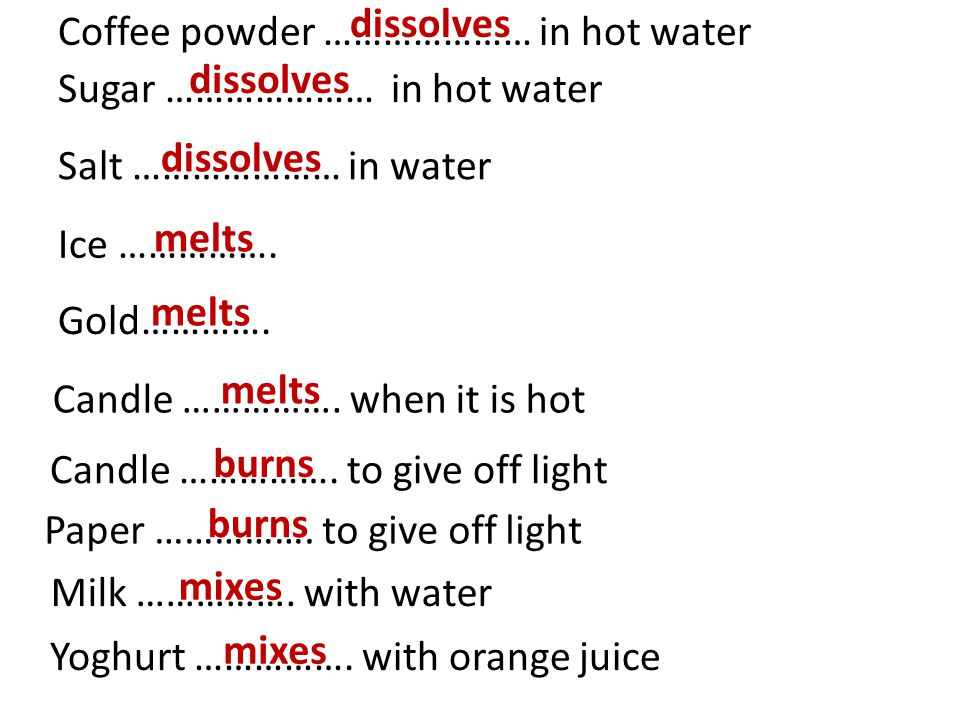 Coffee powder ………………… in hot water dissolves Sugar ………………… in hot water dissolves Salt ………………… in water dissolves Ice …………….