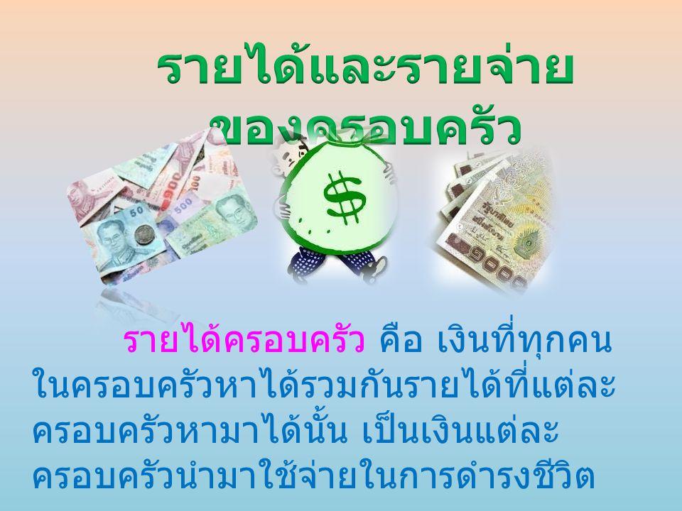 รายได้ครอบครัว คือ เงินที่ทุกคน ในครอบครัวหาได้รวมกันรายได้ที่แต่ละ ครอบครัวหามาได้นั้น เป็นเงินแต่ละ ครอบครัวนำมาใช้จ่ายในการดำรงชีวิต