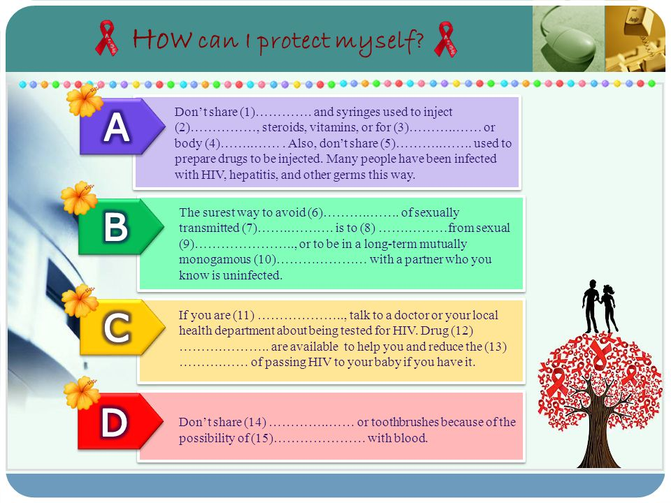 How can I protect myself? Don't share (1)…………. and syringes used to inject (2)……………, steroids, vitamins, or for (3)………..…… or body (4)……..……. Also, do