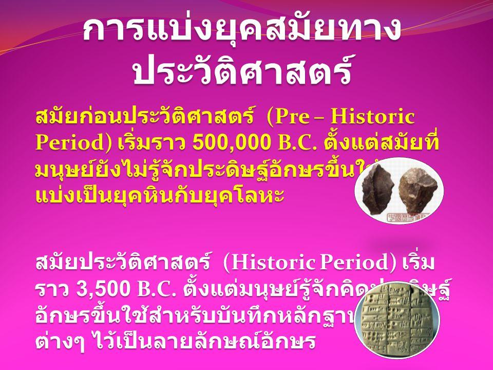 การแบ่งยุคสมัยทาง ประวัติศาสตร์ สมัยก่อนประวัติศาสตร์ (Pre – Historic Period) เริ่มราว 500,000 B.C. ตั้งแต่สมัยที่ มนุษย์ยังไม่รู้จักประดิษฐ์อักษรขึ้น