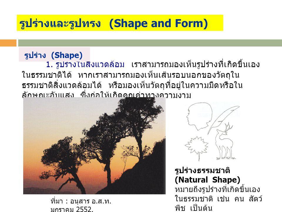 1. รูปร่างในสิ่งแวดล้อม เราสามารถมองเห็นรูปร่างที่เกิดขึ้นเอง ในธรรมชาติได้ หากเราสามารถมองเห็นเส้นรอบนอกของวัตถุใน ธรรมชาติสิ่งแวดล้อมได้ หรือมองเห็น