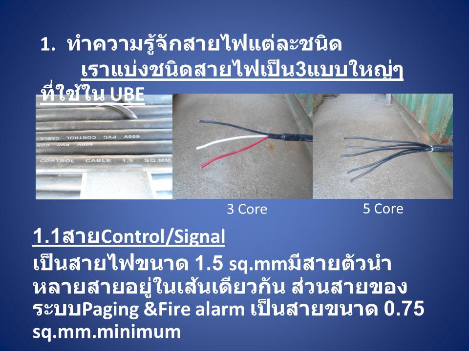 1. ทำความรู้จักสายไฟแต่ละชนิด 1.1 สาย Control/Signal เป็นสายไฟขนาด 1.5 sq.mm มีสายตัวนำ หลายสายอยู่ในเส้นเดียวกัน ส่วนสายของ ระบบ Paging &Fire alarm เ