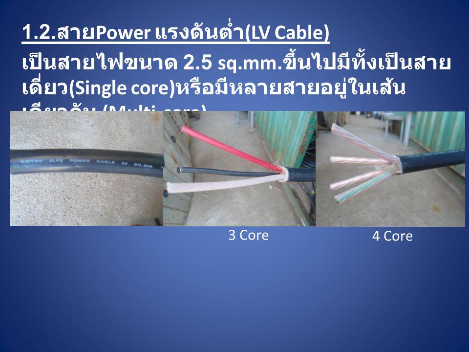 1.2. สาย Power แรงดันต่ำ (LV Cable) เป็นสายไฟขนาด 2.5 sq.mm. ขึ้นไปมีทั้งเป็นสาย เดี่ยว (Single core) หรือมีหลายสายอยู่ในเส้น เดียวกัน (Multi-core) 3