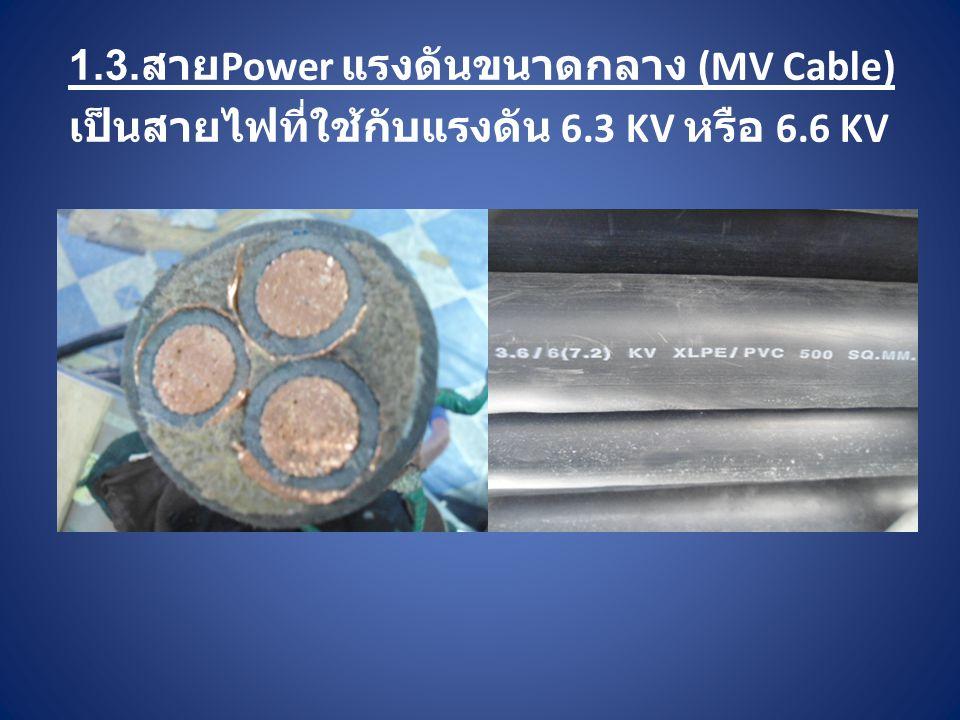 1.3. สาย Power แรงดันขนาดกลาง (MV Cable) เป็นสายไฟที่ใช้กับแรงดัน 6.3 KV หรือ 6.6 KV
