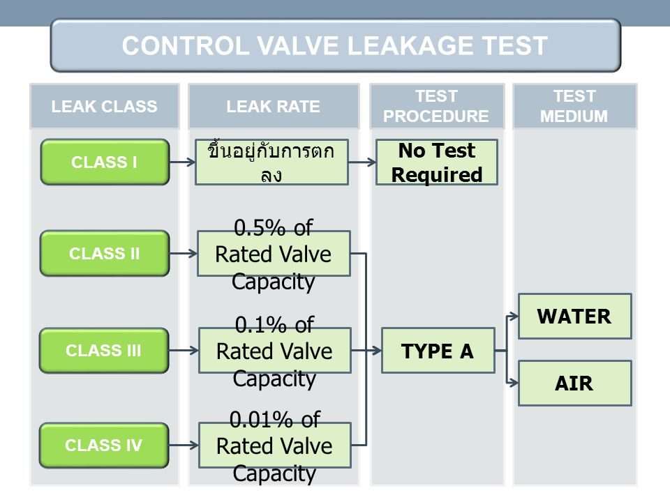 CLASS I ขึ้นอยู่กับการตก ลง WATER AIR No Test Required CLASS II 0.5% of Rated Valve Capacity TYPE A CLASS III 0.1% of Rated Valve Capacity CLASS IV 0.