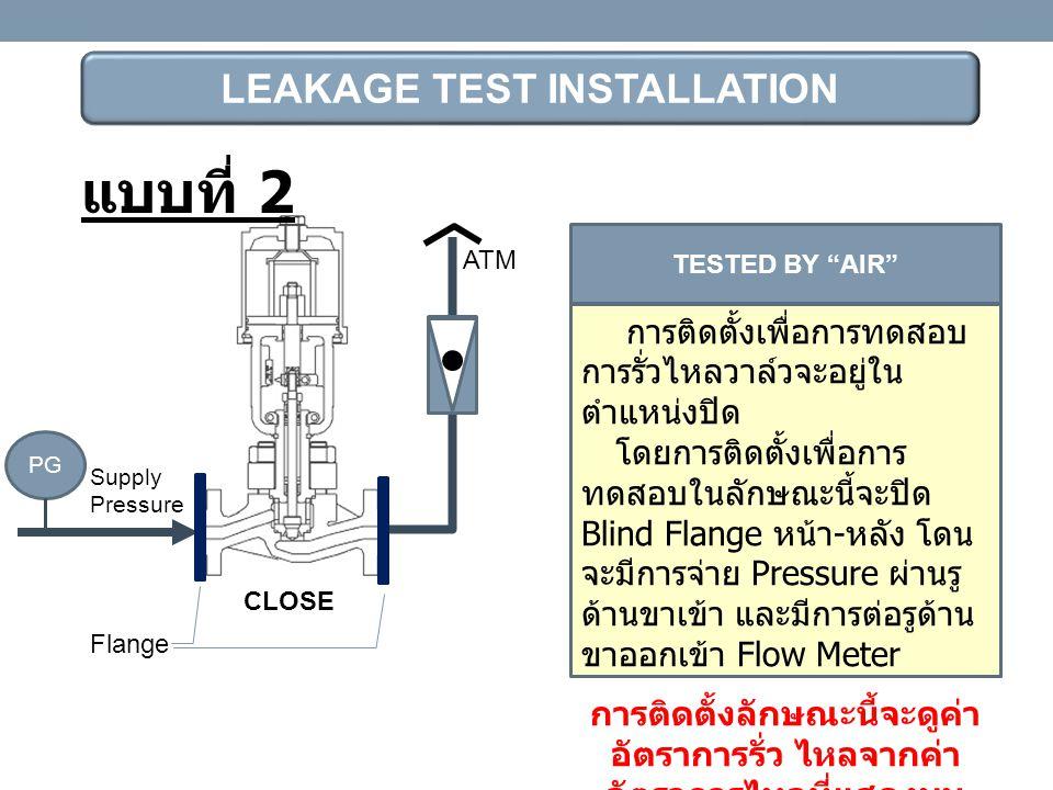 "LEAKAGE TEST INSTALLATION Supply Pressure CLOSE ATM Flange TESTED BY ""AIR"" การติดตั้งเพื่อการทดสอบ การรั่วไหลวาล์วจะอยู่ใน ตำแหน่งปิด โดยการติดตั้งเพื"