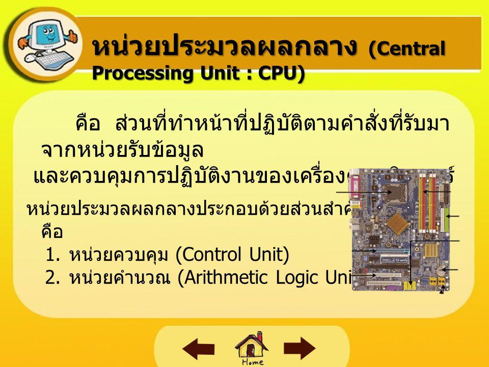 หน่วยความจำ  หน่วยความจำหลัก เป็นหน่วยความจำที่อยู่ใน เครื่องคอมพิวเตอร์ คือ รอม (ROM : Read Only Memory) เป็น หน่วยความจำหลัก  หน่วยความจำสำรอง (Secondary Memory) หน่วยความจำสำรอง เป็นหน่วยความจำที่ใช้เก็บ ข้อมูล และโปรแกรมที่ต้องการใช้งานในคราวต่อไป ได้ ซึ่งสามารถบรรจุข้อมูลและโปรแกรมได้เป็น จำนวนมาก