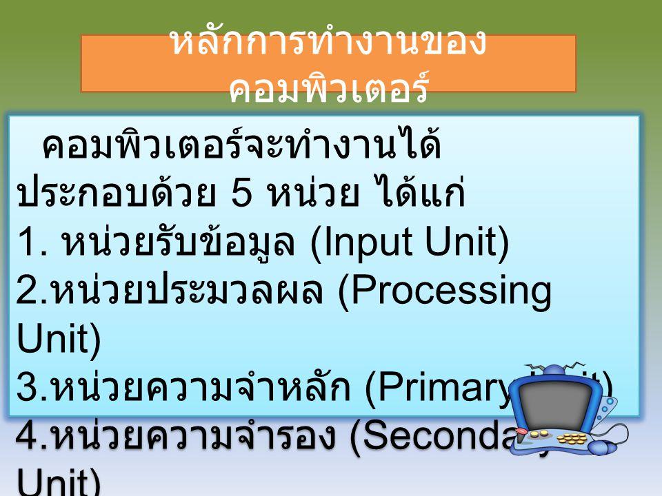 คอมพิวเตอร์จะทำงานได้ ประกอบด้วย 5 หน่วย ได้แก่ 1. หน่วยรับข้อมูล (Input Unit) 2. หน่วยประมวลผล (Processing Unit) 3. หน่วยความจำหลัก (Primary Unit) 4.