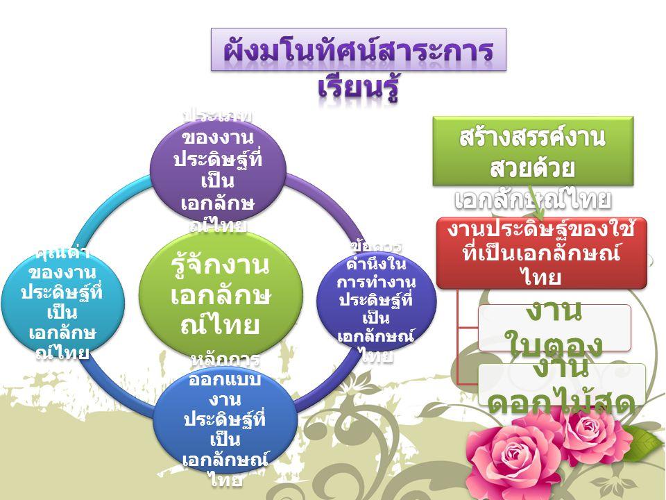 รู้จักงาน เอกลักษ ณ์ไทย ประเภท ของงาน ประดิษฐ์ที่ เป็น เอกลักษ ณ์ไทย ข้อควร คำนึงใน การทำงาน ประดิษฐ์ที่ เป็น เอกลักษณ์ ไทย หลักการ ออกแบบ งาน ประดิษฐ