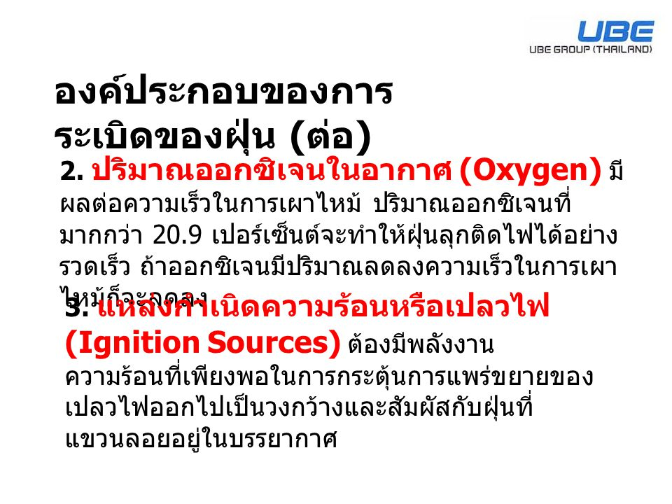 2. ปริมาณออกซิเจนในอากาศ (Oxygen) มี ผลต่อความเร็วในการเผาไหม้ ปริมาณออกซิเจนที่ มากกว่า 20.9 เปอร์เซ็นต์จะทำให้ฝุ่นลุกติดไฟได้อย่าง รวดเร็ว ถ้าออกซิเ