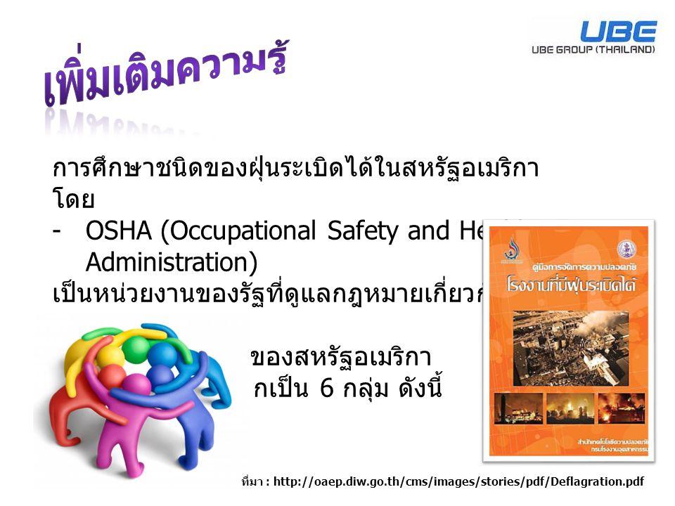 การศึกษาชนิดของฝุ่นระเบิดได้ในสหรัฐอเมริกา โดย -OSHA (Occupational Safety and Health Administration) เป็นหน่วยงานของรัฐที่ดูแลกฎหมายเกี่ยวกับความ ปลอด