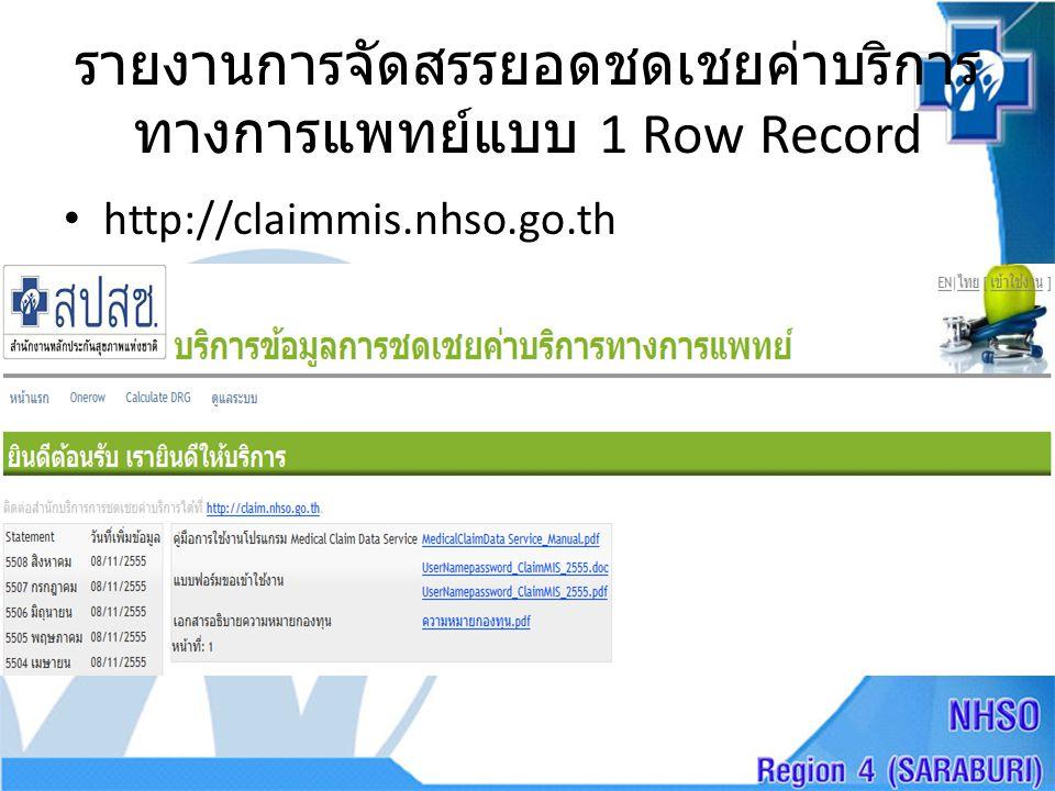 รายงานการจัดสรรยอดชดเชยค่าบริการ ทางการแพทย์แบบ 1 Row Record • http://claimmis.nhso.go.th