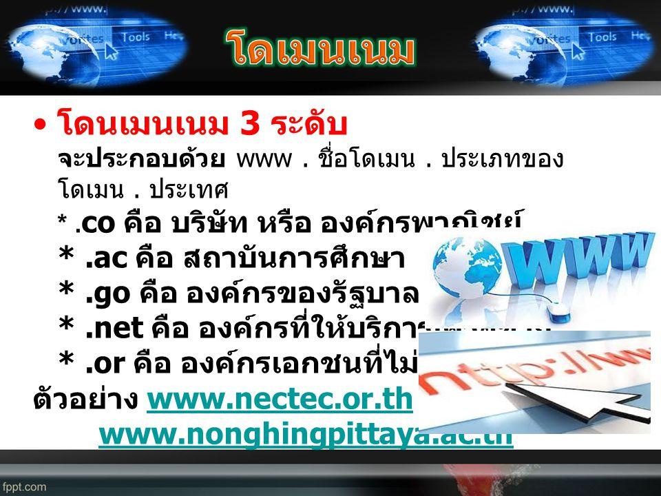 • โดนเมนเนม 3 ระดับ จะประกอบด้วย www. ชื่อโดเมน. ประเภทของ โดเมน. ประเทศ *. co คือ บริษัท หรือ องค์กรพาณิชย์ *.ac คือ สถาบันการศึกษา *.go คือ องค์กรขอ