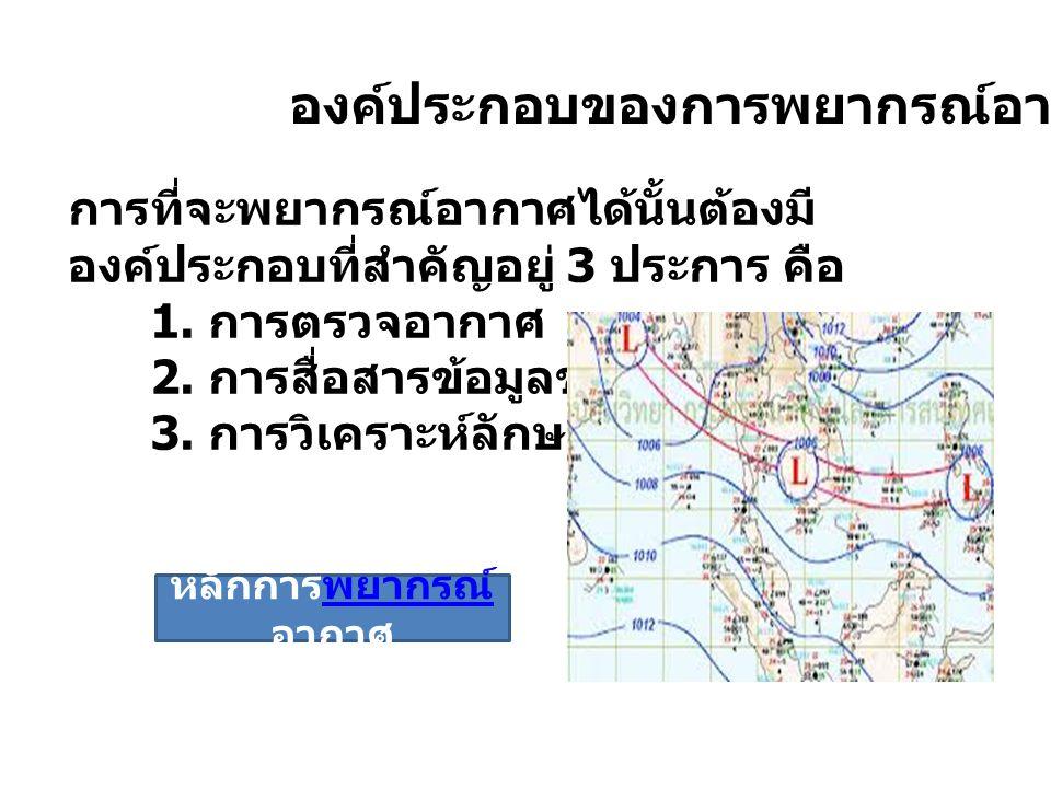 องค์ประกอบของการพยากรณ์อากาศ การที่จะพยากรณ์อากาศได้นั้นต้องมี องค์ประกอบที่สำคัญอยู่ 3 ประการ คือ 1. การตรวจอากาศ 2. การสื่อสารข้อมูลข่าวอากาศ 3. การ