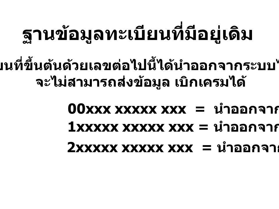 ฐานข้อมูลทะเบียนที่มีอยู่เดิม ทะเบียนที่ขึ้นต้นด้วยเลขต่อไปนี้ได้นำออกจากระบบไปแล้ว จะไม่สามารถส่งข้อมูล เบิกเครมได้ 00xxx xxxxx xxx = นำออกจากระบบ 1xxxxx xxxxx xxx = นำออกจากระบบ 2xxxxx xxxxx xxx = นำออกจากระบบ