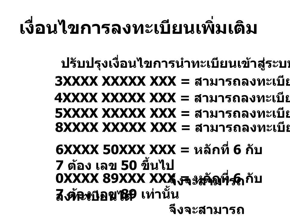เงื่อนไขการลงทะเบียนเพิ่มเติม ปรับปรุงเงื่อนไขการนำทะเบียนเข้าสู่ระบบ ดังนี้ 3XXXX XXXXX XXX = สามารถลงทะเบียนได้ 4XXXX XXXXX XXX = สามารถลงทะเบียนได้