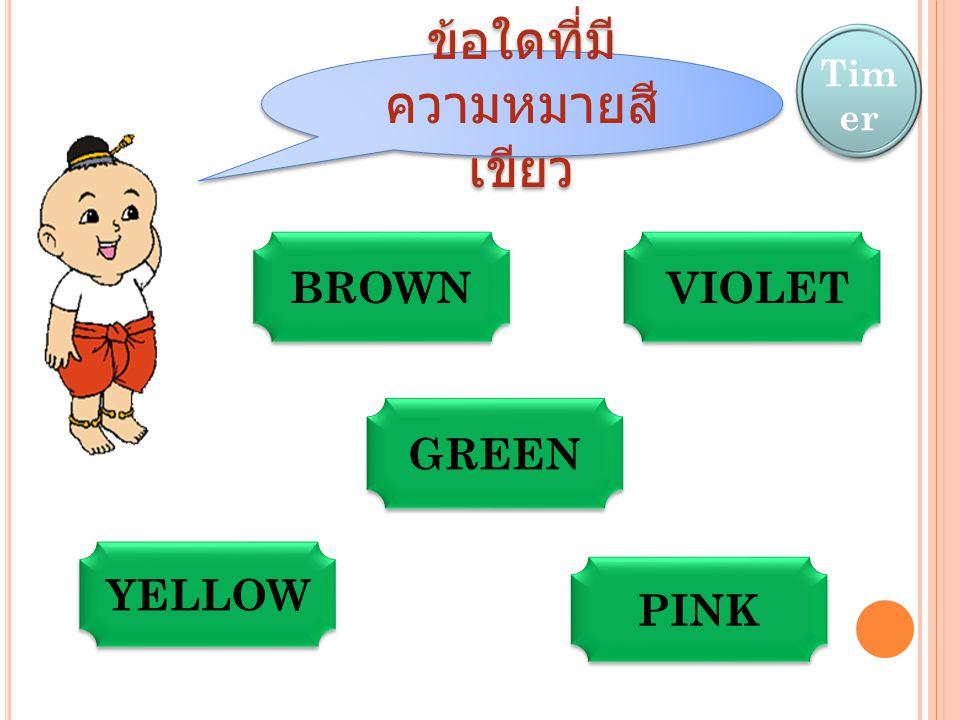 ข้อใดที่มี ความหมายสี เขียว Tim er