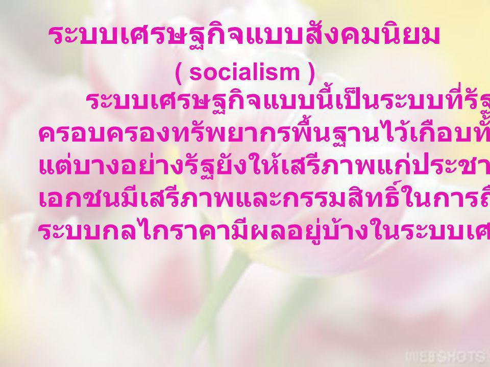 ระบบเศรษฐกิจแบบสังคมนิยม ( socialism ) ระบบเศรษฐกิจแบบนี้เป็นระบบที่รัฐจะเป็นผู้ ครอบครองทรัพยากรพื้นฐานไว้เกือบทั้งหมด แต่บางอย่างรัฐยังให้เสรีภาพแก่