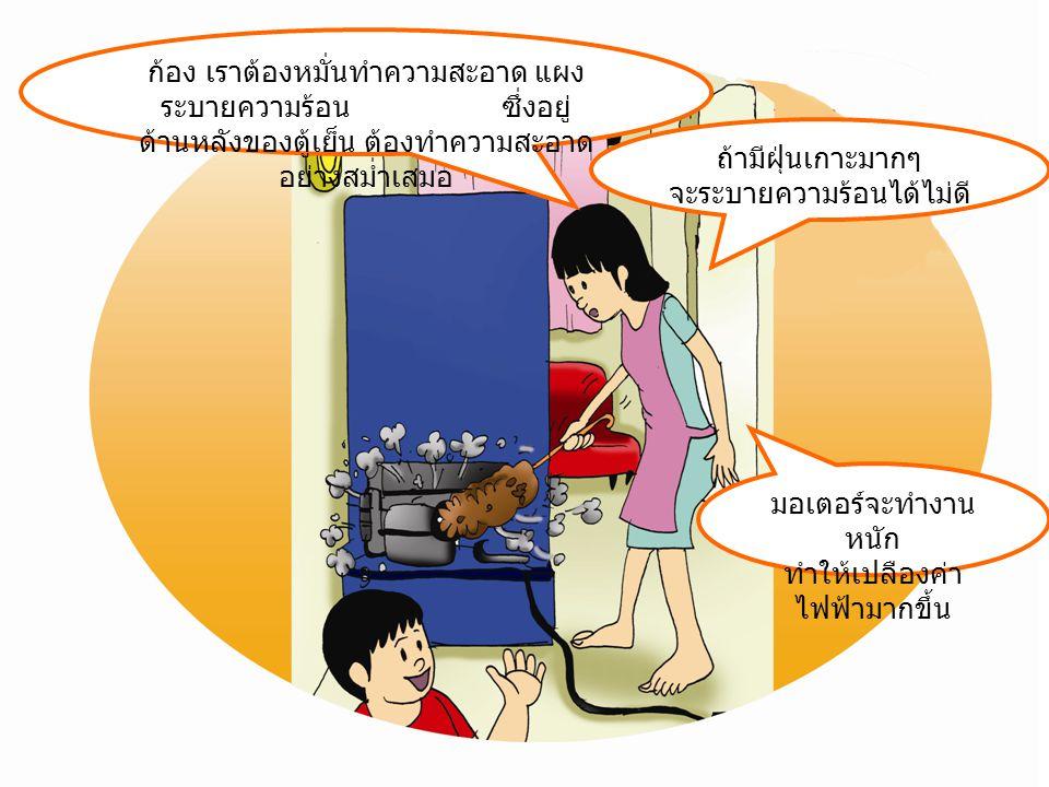 ถ้ามีฝุ่นเกาะมากๆ จะระบายความร้อนได้ไม่ดี ก้อง เราต้องหมั่นทำความสะอาด แผง ระบายความร้อน ซึ่งอยู่ ด้านหลังของตู้เย็น ต้องทำความสะอาด อย่างสม่ำเสมอ มอเตอร์จะทำงาน หนัก ทำให้เปลืองค่า ไฟฟ้ามากขึ้น