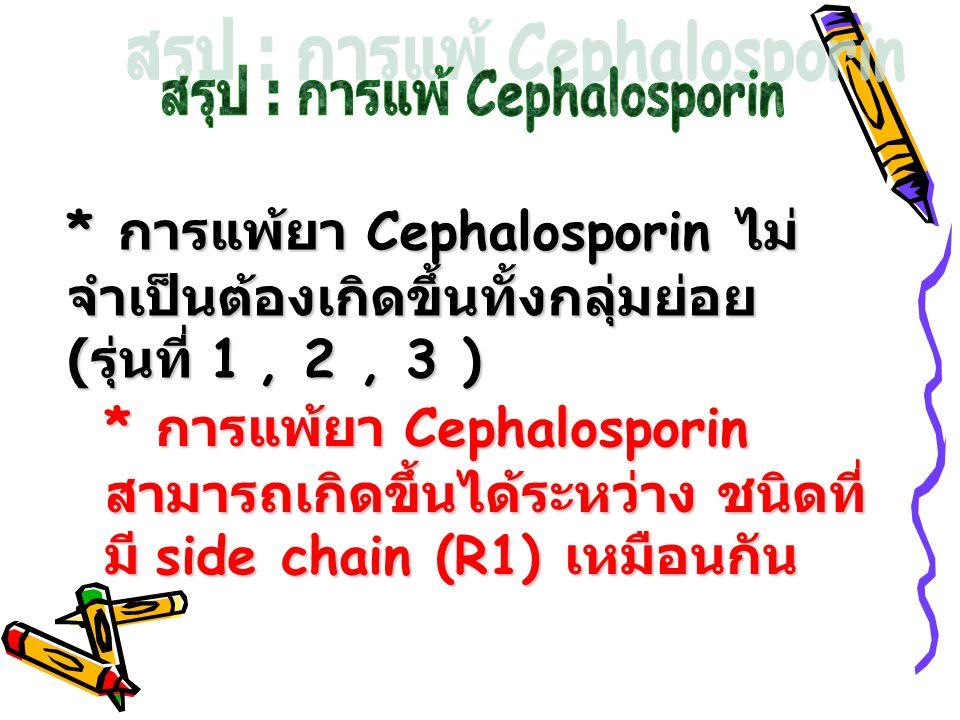 * การแพ้ยา Cephalosporin ไม่ จำเป็นต้องเกิดขึ้นทั้งกลุ่มย่อย ( รุ่นที่ 1, 2, 3 ) * การแพ้ยา Cephalosporin สามารถเกิดขึ้นได้ระหว่าง ชนิดที่ มี side cha