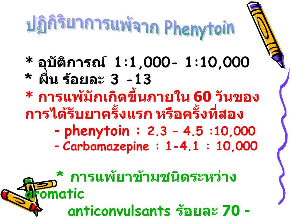 * อุบัติการณ์ 1:1,000- 1:10,000 * ผื่น ร้อยละ 3 -13 * การแพ้มักเกิดขึ้นภายใน 60 วันของ การได้รับยาครั้งแรก หรือครั้งที่สอง - phenytoin : 2.3 – 4.5 :10
