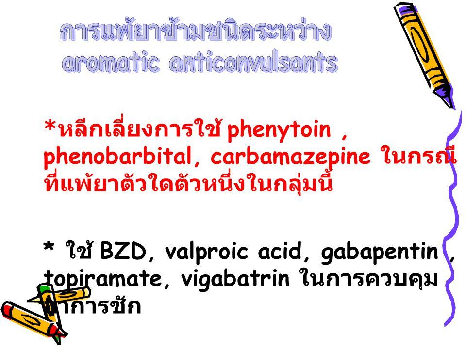 * หลีกเลี่ยงการใช้ phenytoin, phenobarbital, carbamazepine ในกรณี ที่แพ้ยาตัวใดตัวหนึ่งในกลุ่มนี้ * ใช้ BZD, valproic acid, gabapentin, topiramate, vi