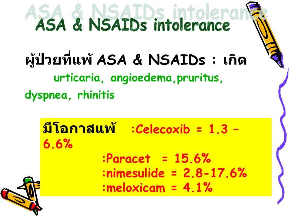 ผู้ป่วยที่แพ้ ASA & NSAIDs : เกิด urticaria, angioedema,pruritus, dyspnea, rhinitis มีโอกาสแพ้ :Celecoxib = 1.3 – 6.6% :Paracet = 15.6% :nimesulide =