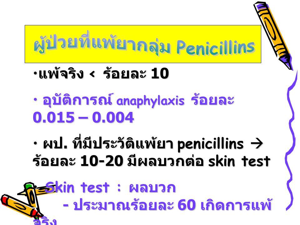 • แพ้จริง < ร้อยละ 10 • อุบัติการณ์ anaphylaxis ร้อยละ 0.015 – 0.004 • ผป. ที่มีประวัติแพ้ยา penicillins  ร้อยละ 10-20 มีผลบวกต่อ skin test • Skin te