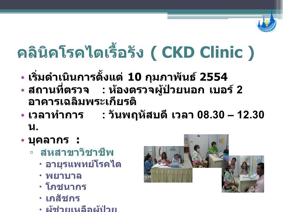 คลินิคโรคไตเรื้อรัง ( CKD Clinic ) • เริ่มดำเนินการตั้งแต่ 10 กุมภาพันธ์ 2554 • สถานที่ตรวจ : ห้องตรวจผู้ป่วยนอก เบอร์ 2 อาคารเฉลิมพระเกียรติ • เวลาทำ