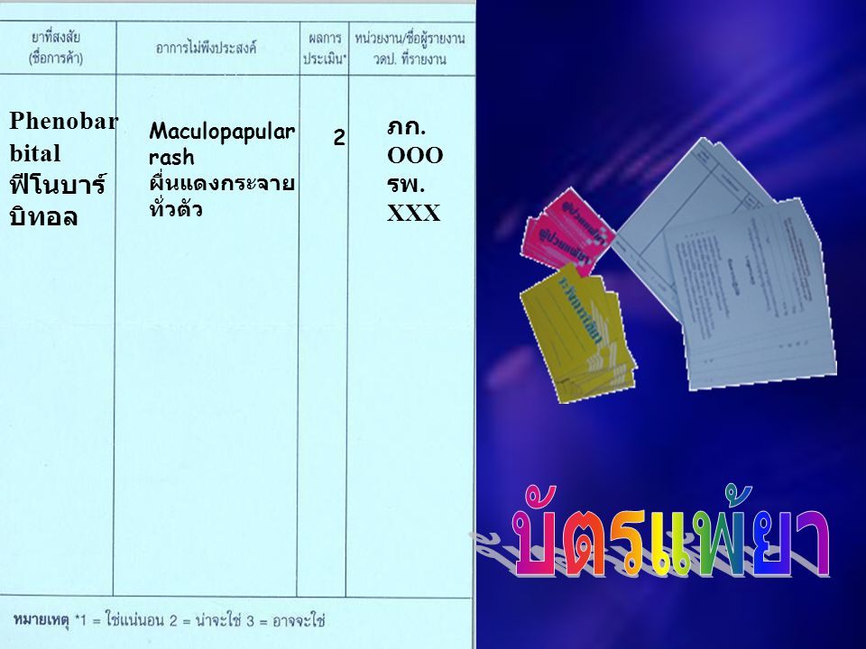 Phenobar bital ฟีโนบาร์ บิทอล Maculopapular rash ผื่นแดงกระจาย ทั่วตัว 2 ภก. OOO รพ. XXX