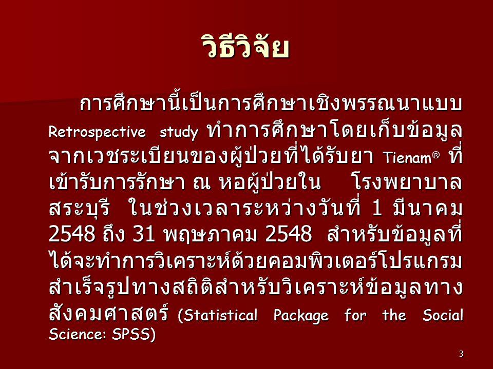 3 วิธีวิจัย การศึกษานี้เป็นการศึกษาเชิงพรรณนาแบบ Retrospective study ทำการศึกษาโดยเก็บข้อมูล จากเวชระเบียนของผู้ป่วยที่ได้รับยา Tienam  ที่ เข้ารับกา