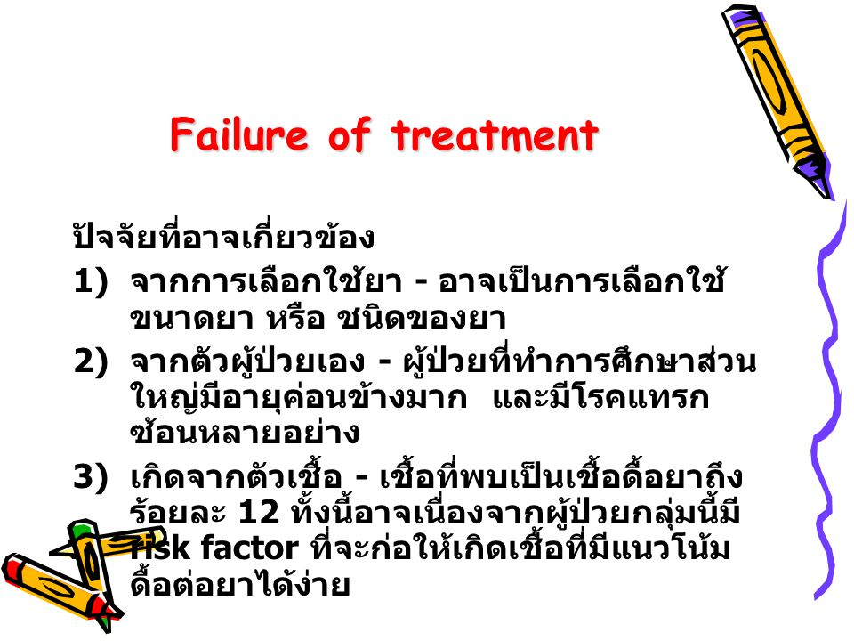 Failure of treatment ปัจจัยที่อาจเกี่ยวข้อง 1) จากการเลือกใช้ยา - อาจเป็นการเลือกใช้ ขนาดยา หรือ ชนิดของยา 2) จากตัวผู้ป่วยเอง - ผู้ป่วยที่ทำการศึกษาส่วน ใหญ่มีอายุค่อนข้างมาก และมีโรคแทรก ซ้อนหลายอย่าง 3) เกิดจากตัวเชื้อ - เชื้อที่พบเป็นเชื้อดื้อยาถึง ร้อยละ 12 ทั้งนี้อาจเนื่องจากผู้ป่วยกลุ่มนี้มี risk factor ที่จะก่อให้เกิดเชื้อที่มีแนวโน้ม ดื้อต่อยาได้ง่าย