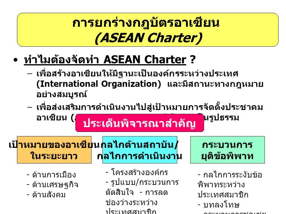 การยกร่างกฎบัตรอาเซียน (ASEAN Charter) • ทำไมต้องจัดทำ ASEAN Charter ? – เพื่อสร้างอาเซียนให้มีฐานะเป็นองค์กรระหว่างประเทศ (International Organization