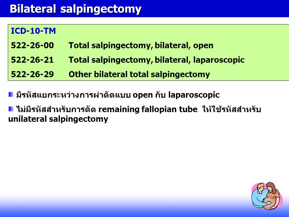 Bilateral salpingectomy Bilateral salpingectomy ICD-10-TM 522-26-00Total salpingectomy, bilateral, open 522-26-21Total salpingectomy, bilateral, lapar