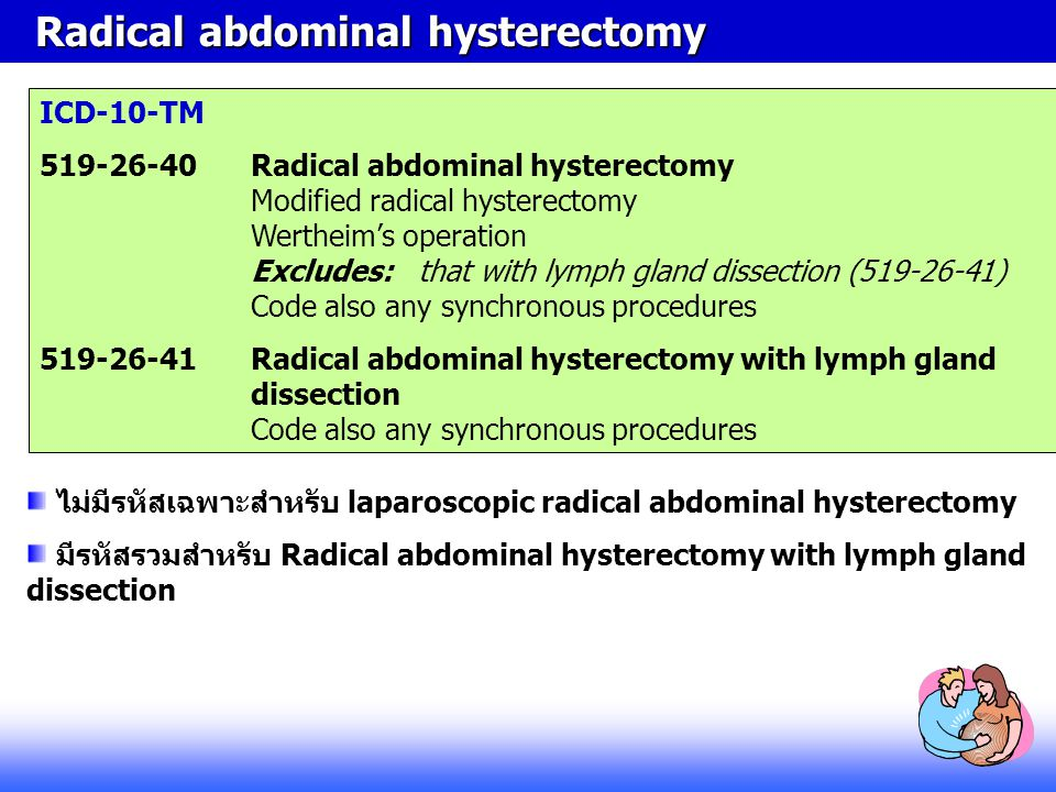 Radical abdominal hysterectomy Radical abdominal hysterectomy ICD-10-TM 519-26-40Radical abdominal hysterectomy Modified radical hysterectomy Wertheim