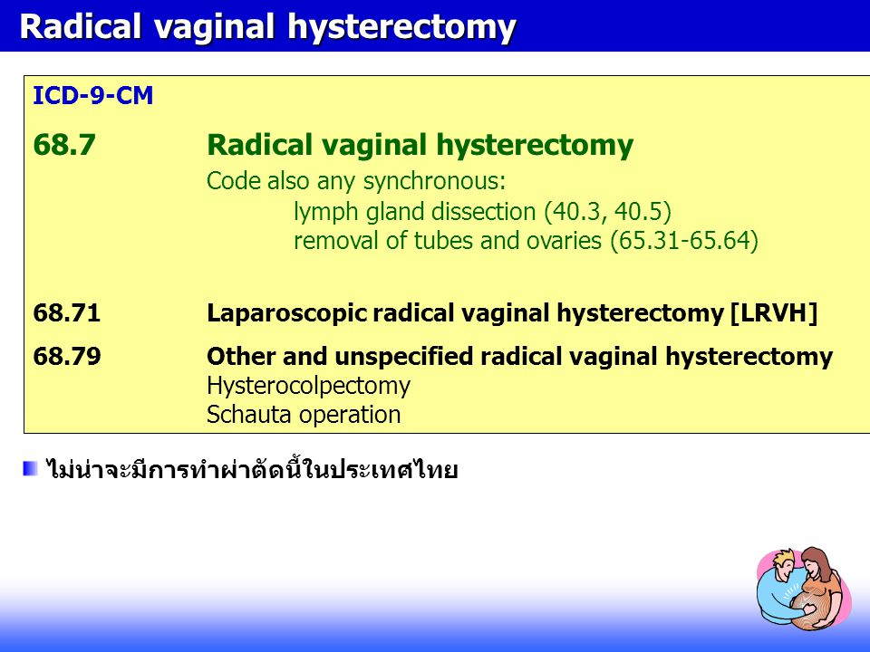 Radical vaginal hysterectomy Radical vaginal hysterectomy ICD-9-CM 68.7Radical vaginal hysterectomy Code also any synchronous: lymph gland dissection