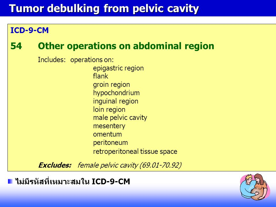 Tumor debulking from pelvic cavity Tumor debulking from pelvic cavity ICD-9-CM 54Other operations on abdominal region Includes: operations on: epigast