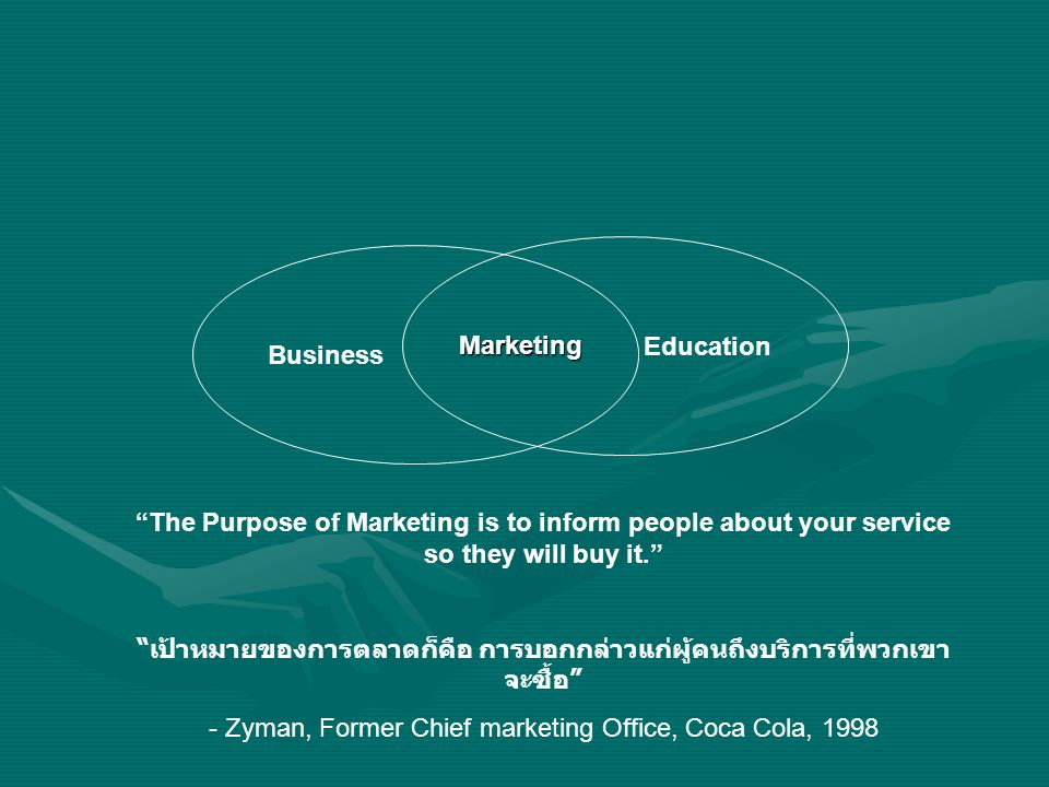 "Business Education Marketing ""The Purpose of Marketing is to inform people about your service so they will buy it."" "" เป้าหมายของการตลาดก็คือ การบอกกล"