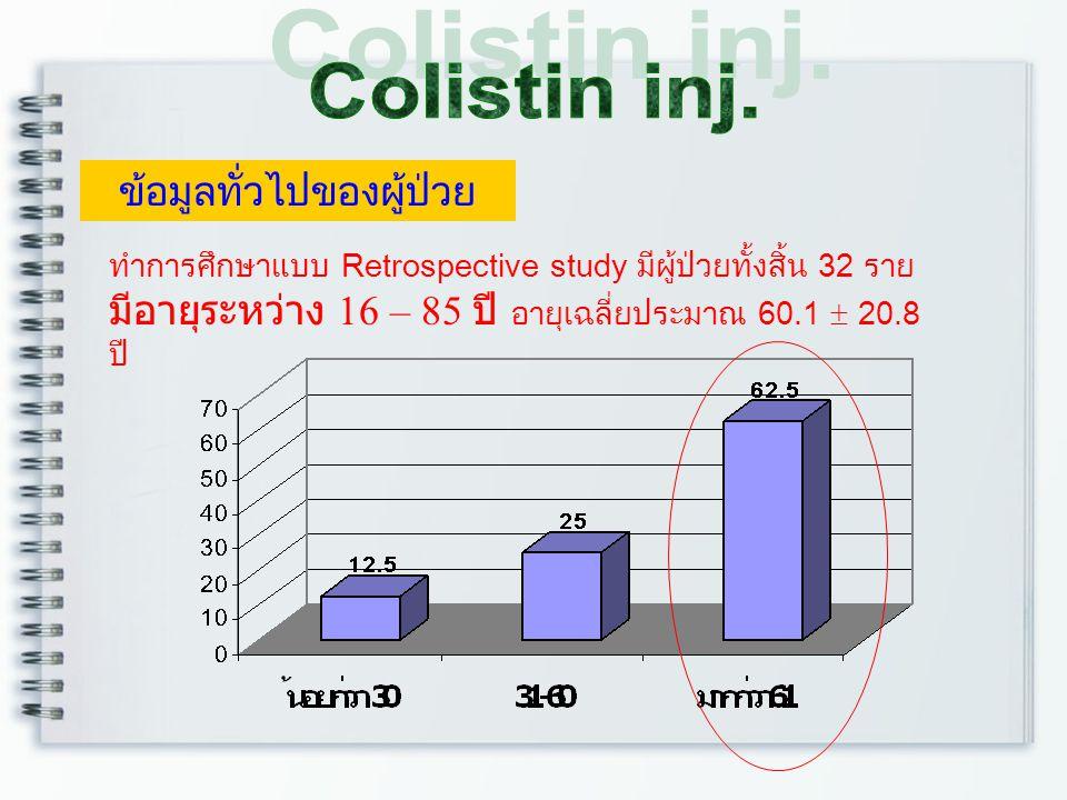 * ผู้ป่วยส่วนใหญ่เป็นเพศชาย 25 ราย (ร้อยละ 78.1) * ผู้ป่วยส่วนใหญ่ไม่แพ้ยา 30 ราย (ร้อยละ 93.8 ) แต่ไม่มีผู้ป่วยรายใดแพ้ยา colistin * ผู้ป่วยมีวันนอนเฉลี่ย 41 วัน (12-113 วัน) * ผู้ป่วยส่วนใหญ่ใส่ ET tube/Ventilator ระหว่างการ รักษาจำนวน 25 ราย (ร้อยละ 78.1)