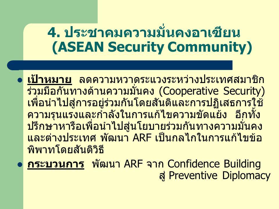 4. ประชาคมความมั่นคงอาเซียน (ASEAN Security Community)  เป้าหมาย ลดความหวาดระแวงระหว่างประเทศสมาชิก ร่วมมือกันทางด้านความมั่นคง (Cooperative Security