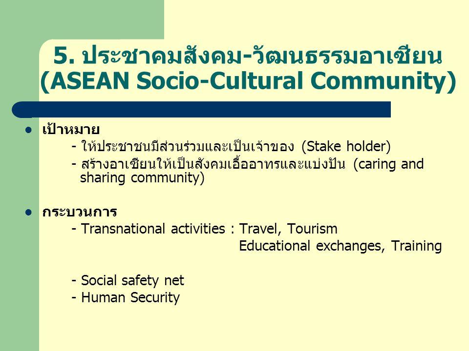 5. ประชาคมสังคม-วัฒนธรรมอาเซียน (ASEAN Socio-Cultural Community)  เป้าหมาย - ให้ประชาชนมีส่วนร่วมและเป็นเจ้าของ (Stake holder) - สร้างอาเซียนให้เป็นส
