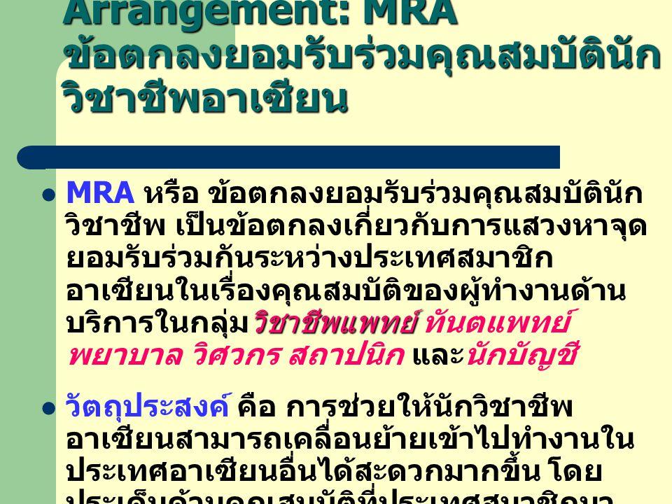 ASEAN Mutual Recognition Arrangement: MRA ข้อตกลงยอมรับร่วมคุณสมบัตินัก วิชาชีพอาเซียน วิชาชีพแพทย์  MRA หรือ ข้อตกลงยอมรับร่วมคุณสมบัตินัก วิชาชีพ เป็นข้อตกลงเกี่ยวกับการแสวงหาจุด ยอมรับร่วมกันระหว่างประเทศสมาชิก อาเซียนในเรื่องคุณสมบัติของผู้ทำงานด้าน บริการในกลุ่มวิชาชีพแพทย์ ทันตแพทย์ พยาบาล วิศวกร สถาปนิก และนักบัญชี  วัตถุประสงค์ คือ การช่วยให้นักวิชาชีพ อาเซียนสามารถเคลื่อนย้ายเข้าไปทำงานใน ประเทศอาเซียนอื่นได้สะดวกมากขึ้น โดย ประเด็นด้านคุณสมบัติที่ประเทศสมาชิกมา นั่งเจรจาเพื่อหาจุดตกลงยอมรับร่วมกันนั้น คือ เรื่องวุฒิการศึกษา และประสบการทำงาน ที่เป็นเงื่อนไขหนึ่งในการอนุญาตให้นัก วิชาชีพต่างด้าวเข้าไปทำงานในประเทศตน ได้