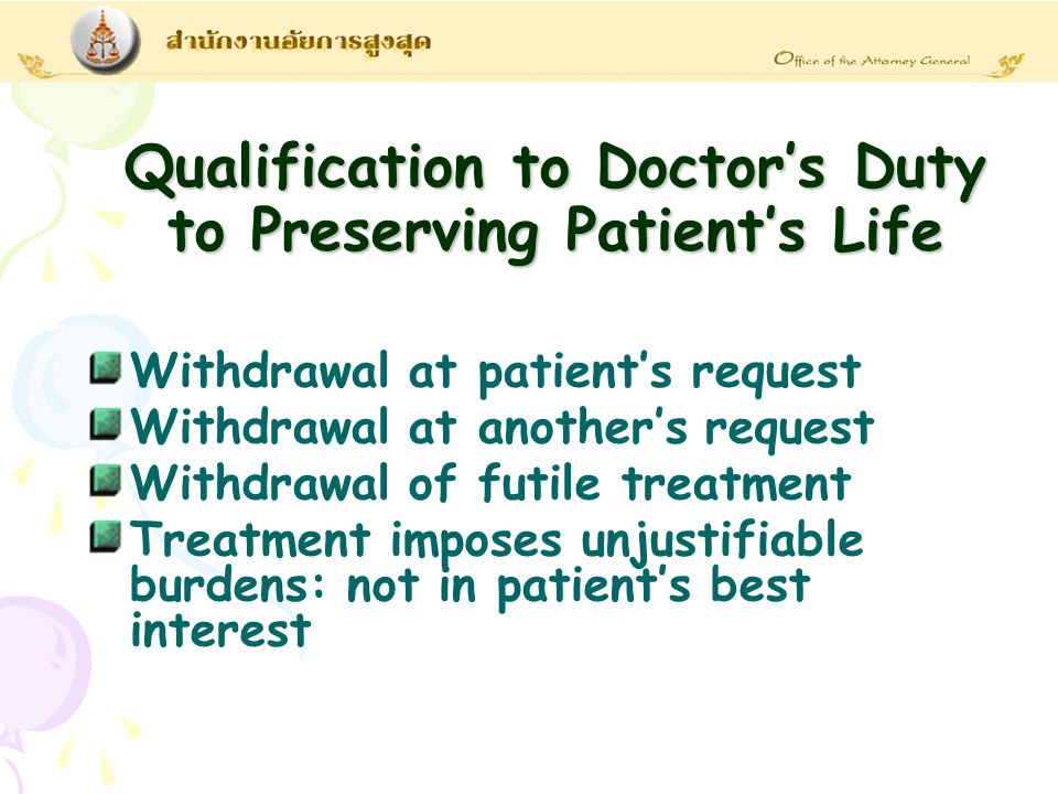 Withdrawal at patient's request Withdrawal at another's request Withdrawal of futile treatment Treatment imposes unjustifiable burdens: not in patient