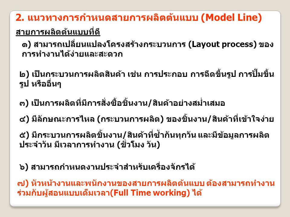 2. แนวทางการกำหนดสายการผลิตต้นแบบ (Model Line) สายการผลิตต้นแบบที่ดี ๑) สามารถเปลี่ยนแปลงโครงสร้างกระบวนการ (Layout process) ของ การทำงานได้ง่ายและสะด