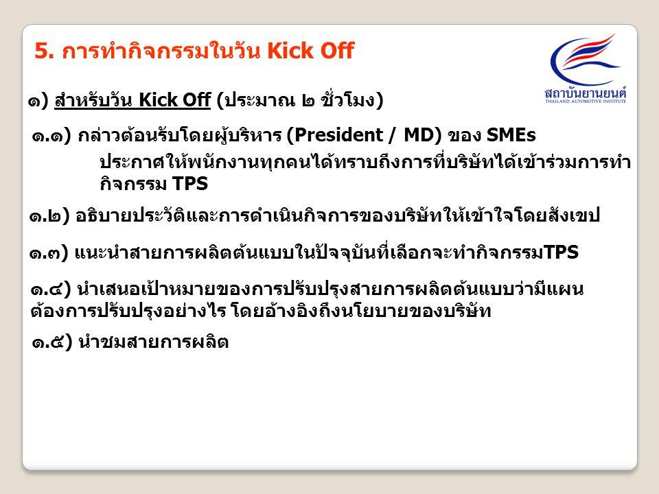 5. การทำกิจกรรมในวัน Kick Off ๑) สำหรับวัน Kick Off (ประมาณ ๒ ชั่วโมง) ๑.๑) กล่าวต้อนรับโดยผู้บริหาร (President / MD) ของ SMEs ๑.๓) แนะนำสายการผลิตต้น