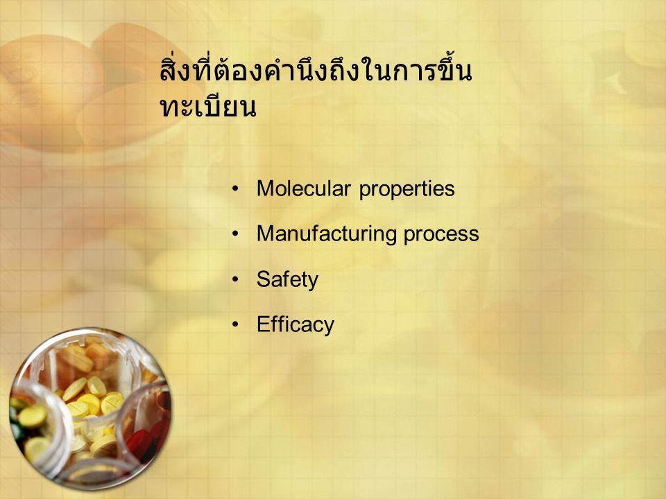 สิ่งที่ต้องคำนึงถึงในการขึ้น ทะเบียน •Molecular properties •Manufacturing process •Safety •Efficacy